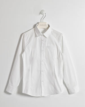 Boy¿s long sleeved slim fit shirt in cotton blend WHITE
