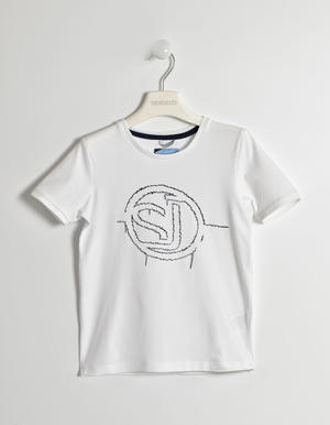 Boy¿s short-sleeved t-shirt in stretch cotton WHITE