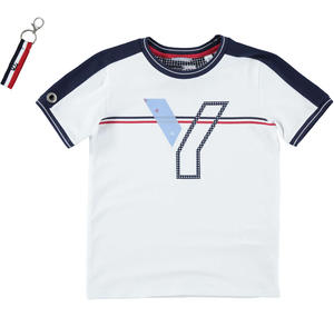 Boy's short-sleeved t-shirt in stretch cotton WHITE