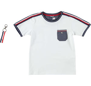 Boy's crew-neck t-shirt in stretch cotton WHITE