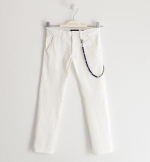 Boy's chinos trousers in stretch cotton twill