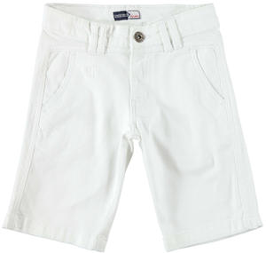 Boy's comfy short trousers in stretch cotton WHITE