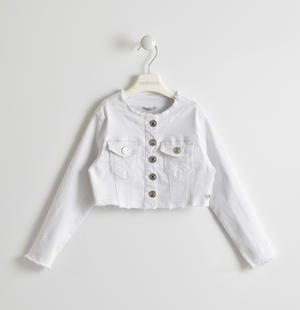 Girl's white denim jacket WHITE