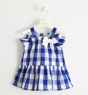 100% cotton dress with check pattern BLUE