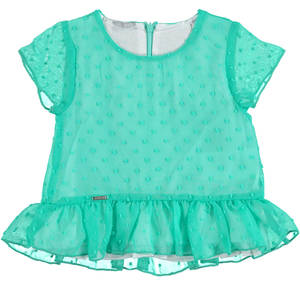 Short sleeved blouse in embroidered chiffon for girls GREEN