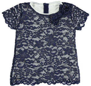 Floral lace blouse with short sleeves for girls BLUE
