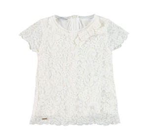Floral lace blouse with short sleeves for girls CREAM
