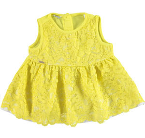 Sleeveless blouse with floral lace for girls YELLOW