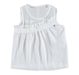 Blusa smanicata in voile con sprone increspato BIANCO