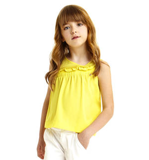 Blusa smanicata in voile con sprone increspato GIALLO