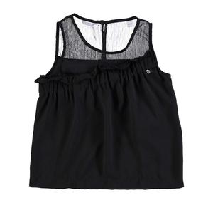 Blusa smanicata in voile con sprone increspato NERO