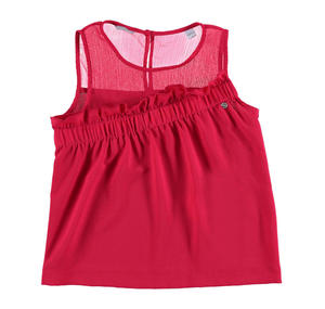 Sleeveless voile blouse with a crinkled yoke RED