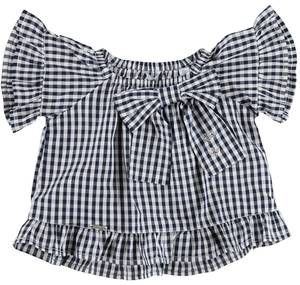 Checked soft cotton flared blouse for girls BLUE