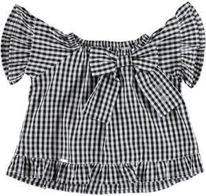 Checked soft cotton flared blouse for girls BLACK