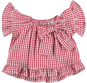 Checked soft cotton flared blouse for girls RED