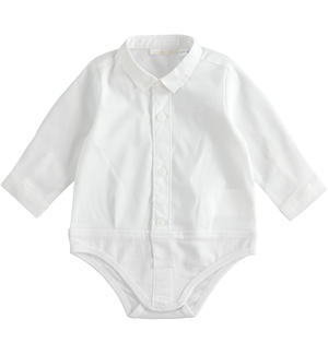 Long-sleeved baby boy body of stretch cotton blend poplin WHITE