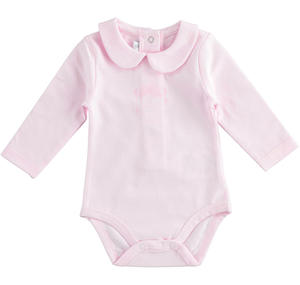 Stretch cotton jersey unisex baby bodysuit PINK
