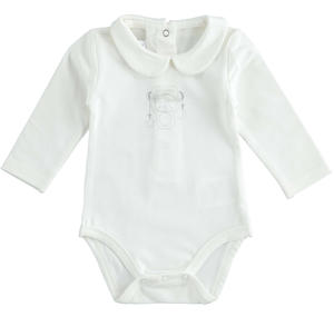 Stretch cotton jersey unisex baby bodysuit CREAM