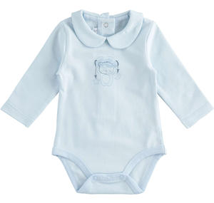 Stretch cotton jersey unisex baby bodysuit LIGHT BLUE