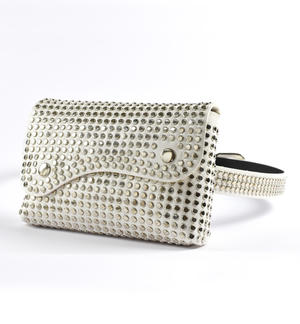 Eco-leather bag with studs CREAM