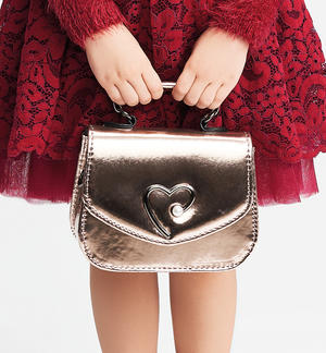 Bag in eco-leather with a metallic effect with heart BROWN
