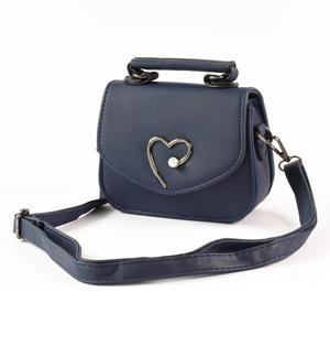 Bag in eco-leather with a metallic effect with heart BLUE
