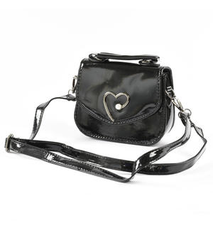 Bag in eco-leather with a metallic effect with heart BLACK