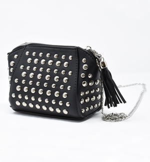 Black faux leather handbag with studs for little girl BLACK