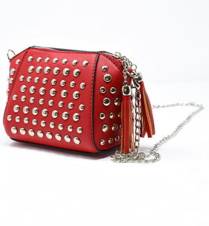 Black faux leather handbag with studs for little girl RED