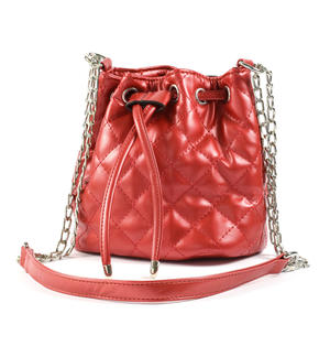 Quilted bucket bag in faux leather RED