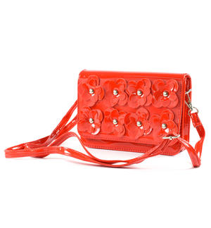 Shiny faux leather bag RED