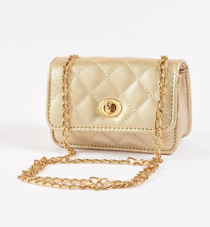 Gold faux leather bag YELLOW
