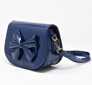 Patent leather bag with bow BLUE