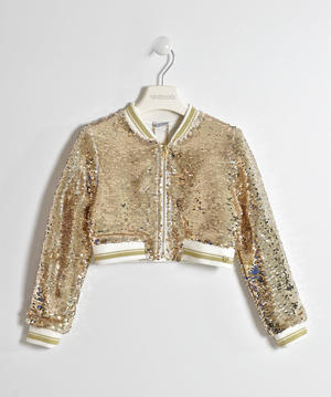 Girl's short fit jacket studded with glittering sequins