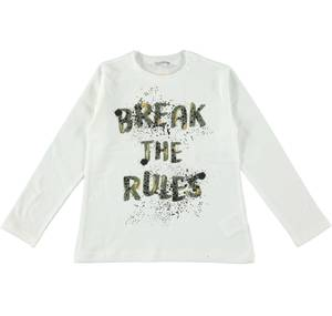 Long-sleeved T-shirt with spray-like print CREAM