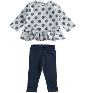Very warm set made of maxi-shirt with polka-dot and leggings with pleats GREY