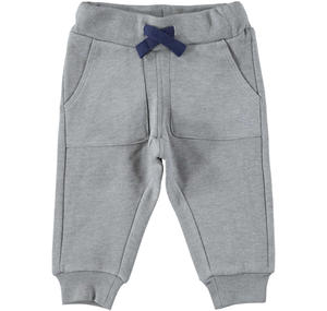 Warm trousers of solid color fleece GREY