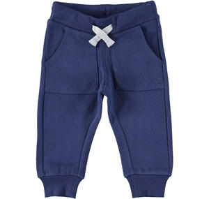 Warm trousers of solid color fleece BLUE