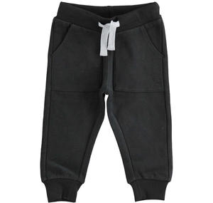 Warm trousers of solid color fleece BLACK