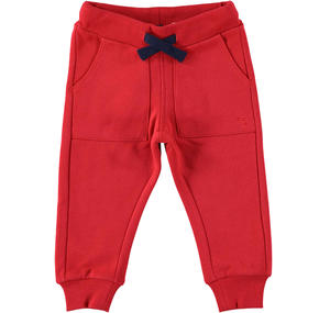 Warm trousers of solid color fleece RED