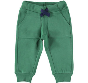 Warm trousers of solid color fleece GREEN
