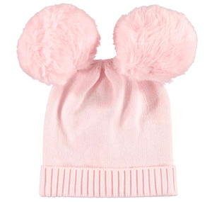 Warm beanie with pompons  PINK