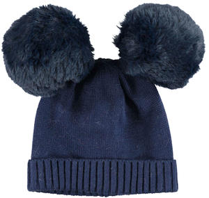 Warm beanie with pompons  BLUE