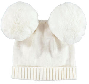 Warm beanie with pompons  CREAM