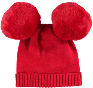 Warm beanie with pompons  RED