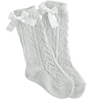 Cotton socks with bow CREAM