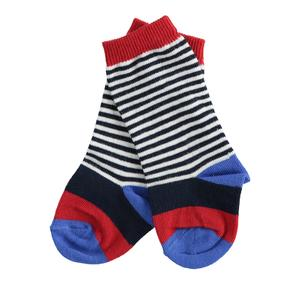 Newborn patterned cotton socks with maxi and micro stripes RED