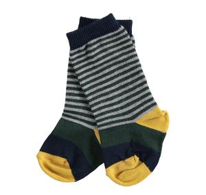 Newborn patterned cotton socks with maxi and micro stripes GREEN
