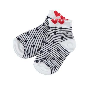 Baby girl cotton blend socks with stripes and little hearts BLUE