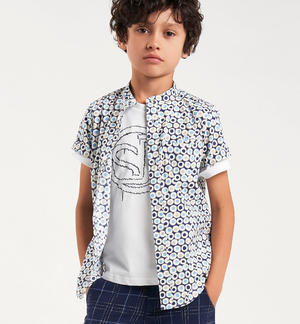 Boy's 100% cotton short-sleeved shirt with all over print WHITE